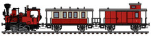 The Vectorized Hand Drawing Of A Vintage Red Small Steam Train