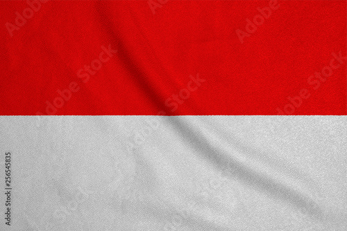 Foto  Flag of the Indonesia from the factory knitted fabric
