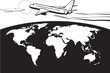 Passenger airplane flying around the world - vector illustration