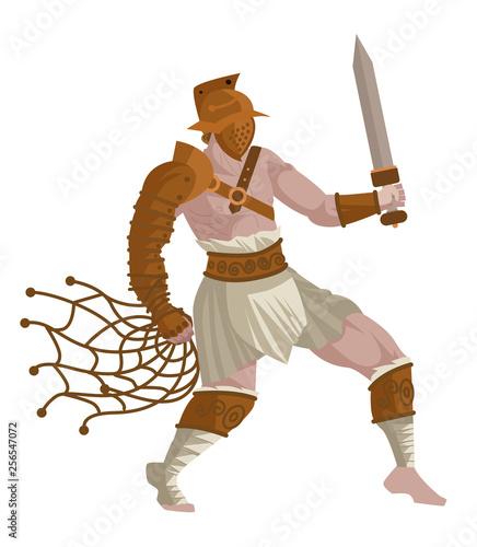 Aluminium Prints Fairytale World gladiator warrior in the arena with net and gladius sword