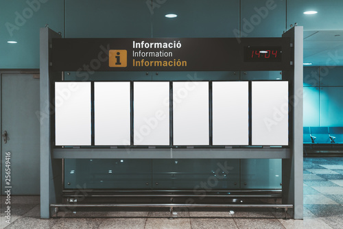 Fototapeta  A modern arrival and departure board mockup consisting of six vertically arrange