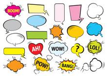 Set Of Color Comic Speech Bubbles. Vector Illustration.