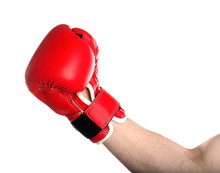 Man In Boxing Glove On White Background, Closeup