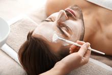 Cosmetologist Applying Mask On...