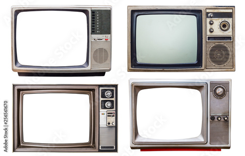old retro color bronze and wooden home TV receiver isolated on white background,mix vintage television