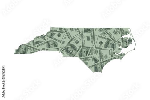 Fotografie, Obraz  North Carolina Map and Money Concept, Hundred Dollar Bills