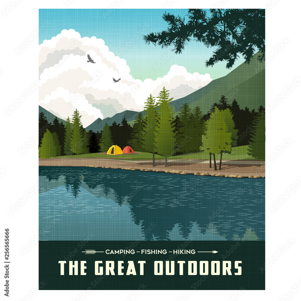 Fototapeta Scenic landscape with mountains, forest and lake with camping tents. Summer travel poster or sticker design.