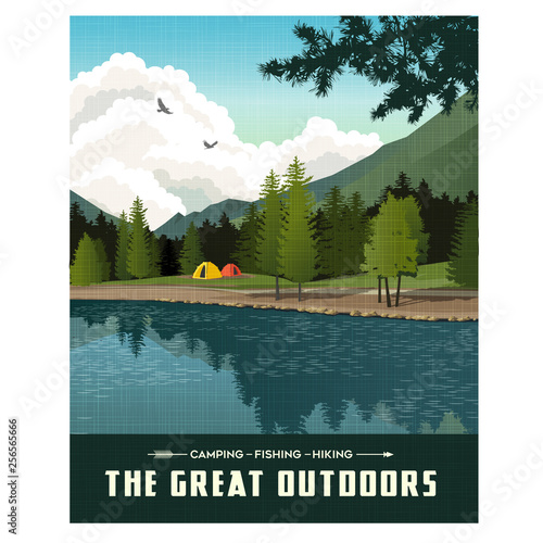 Fototapeta Scenic landscape with mountains, forest and lake with camping tents. Summer travel poster or sticker design. obraz