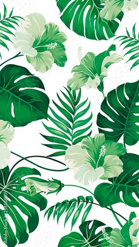 Naklejki na drzwi Deseń z tropikalnych liści