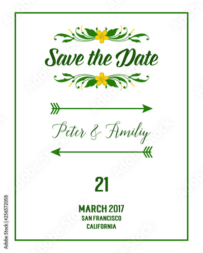 Wall Murals Retro sign Vector illustration leaf floral frame with template save the date