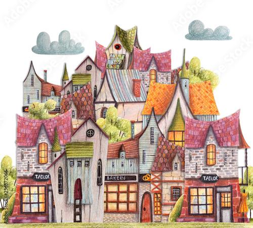 kolorowe-kredki-miasto-z-kawiarnia