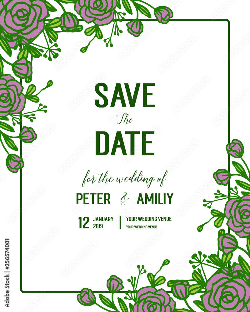 Vector Illustration Wedding Invitation Card With Artwork