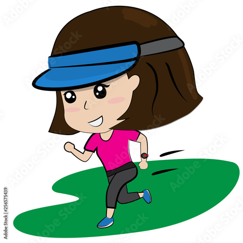 Photo Stands Fairies and elves young girl running work out cartoon vector