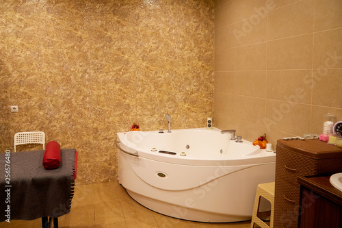 Romantic bathtub with candlelight and red petals Wallpaper Mural