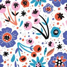 Poppy Flowers Hand Drawn Vecto...