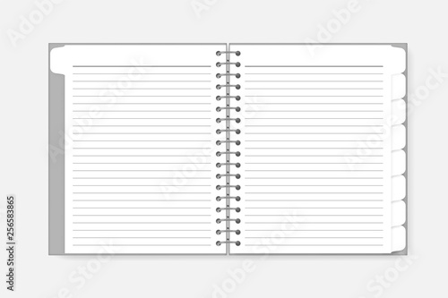 Open spiral notebook with tab dividers, vector mockup Canvas Print
