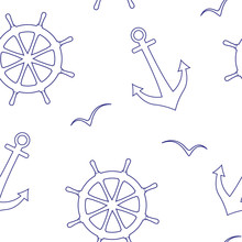 Linear Seamless Vector Pattern Of A Sea Steering Wheels,anchors,seagulls.