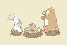Cartoon Cute Rabbit And Bear Tea Time Vector.