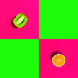 Leinwandbild Motiv Ripe juicy halved orange kiwi on duotone bright neon fuchsia pink green background with blank squares for text. Healthy lifestyle vegan vitamins summer superfoods concept. Creative food art poster