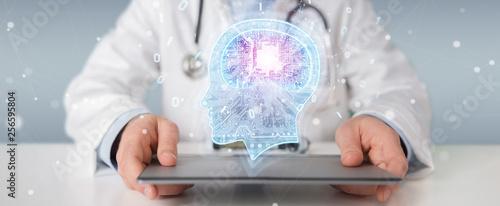 Fotografía  Doctor creating artificial intelligence interface 3D rendering