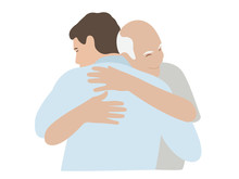 Hugs Man And Elderly Father