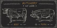 Butchers Meat Cuts Chart Engra...