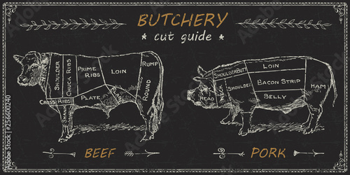 Butchers meat cuts chart engraved diagram Fototapete
