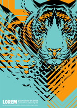 Design Poster With A Tiger's Head In The Form Of Modern Graphics
