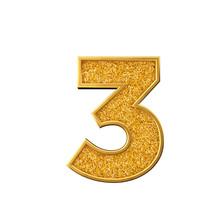 Gold Glitter Number 3. Shiny Sparkling Golden Number. 3D Rendering