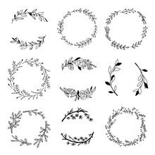 Vector Black Outline Wreaths. Hand Drawn Wreaths And Leaves Compositions. Nature Elements And Botanical Decorations