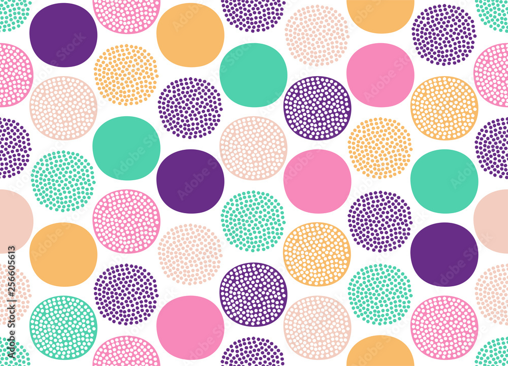 Fototapeta Seamless creative stylish doodle dots playful pattern - Vector