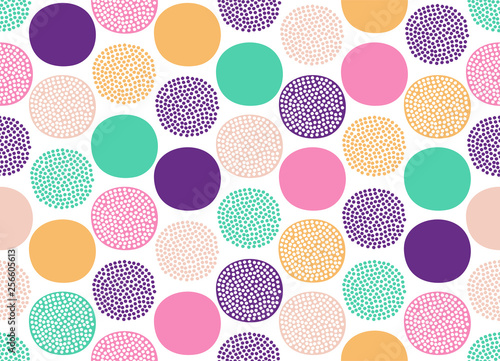 Seamless creative stylish doodle dots playful pattern - Vector
