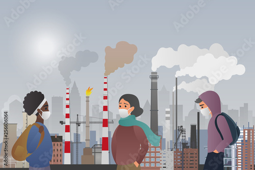 Fotomural Young sad male and female people wear protecting masks suffering from manufacture pipes air polluting in the city