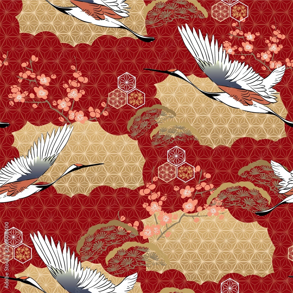 Vector seamless of Japanese kimono pattern. Cherry blossom , Crane birds, pine tree with oriental motifs background illustration for premium product, nature luxury wallpaper, banner.