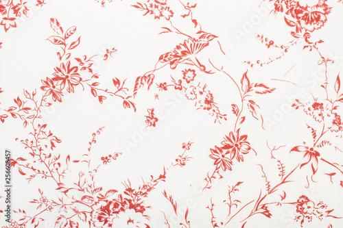 Fotografie, Obraz  Textura de tela con flores rojas