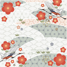 Cherry Blossom With Japanese Pattern Background. Red Flower, Crane Birds And Geometric Elements.