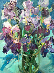 Panel Szklany 3D Drawing of bright colors irises in glass vase