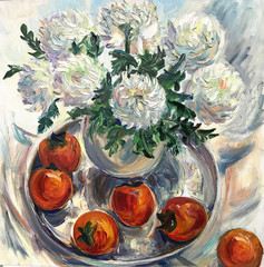 Panel Szklany 3D Drawing of bright white flowers, red persimmon