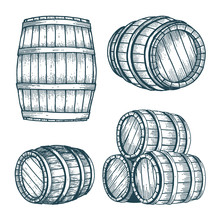 Barrel. Oak Barrel Hand Drawn ...