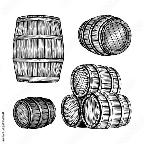 Barrel. Oak barrel hand drawn vector illustrations set. Wooden keg sketch drawing label. Fototapete