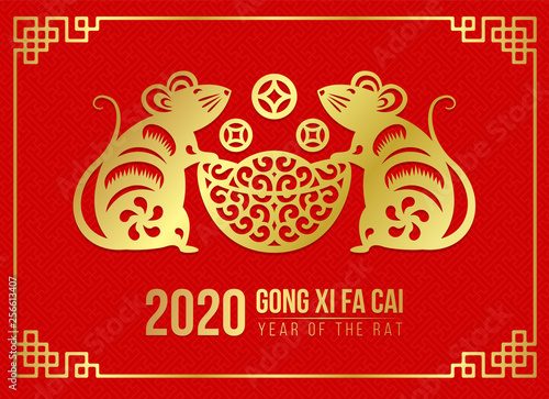2020 Chinese New Year.Happy Chinese New Year 2020 Card With Gold Paper Cut Twin