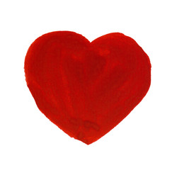 Painting of big red heart isolated on white background