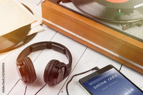 Listen online radio concept - online music player app on smartphone