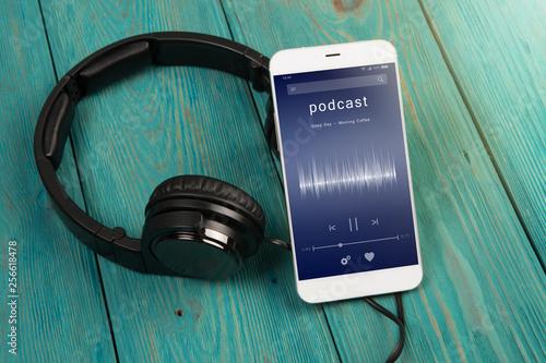 Listen podcast online concept - online music player app on
