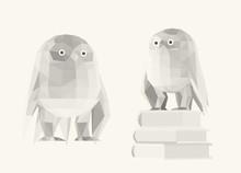 Light Owl. Set Of Isolated Whi...