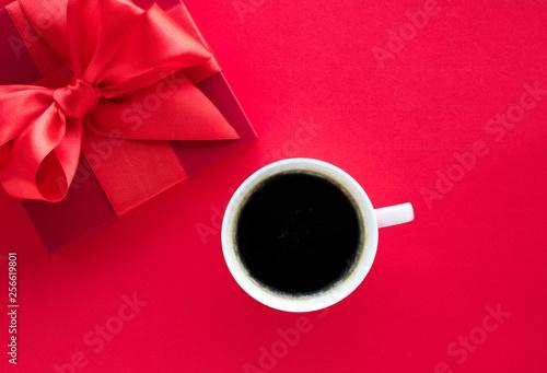 Fototapeta Luxury beauty gift box and coffee on red, flatlay obraz na płótnie