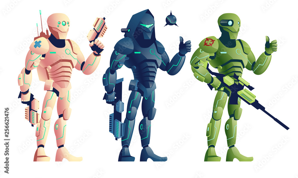 Fototapeta Future robotic soldiers, cyborg medic armed pistols, saboteur with shotgun and explosive, sniper with rifle cartoon vector characters isolated on white background. Shooter game units illustrations set