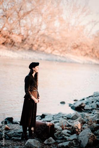 Fototapeta Woman in vintage dress