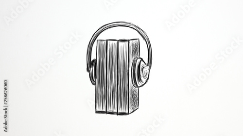 Canvas Print Audio book concept. Headphones,