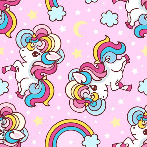 Tapety do pokoju dziewczynki  seamless-pattern-unicorns-rainbow-stars-moon-on-a-pink-background-background-for-fabric